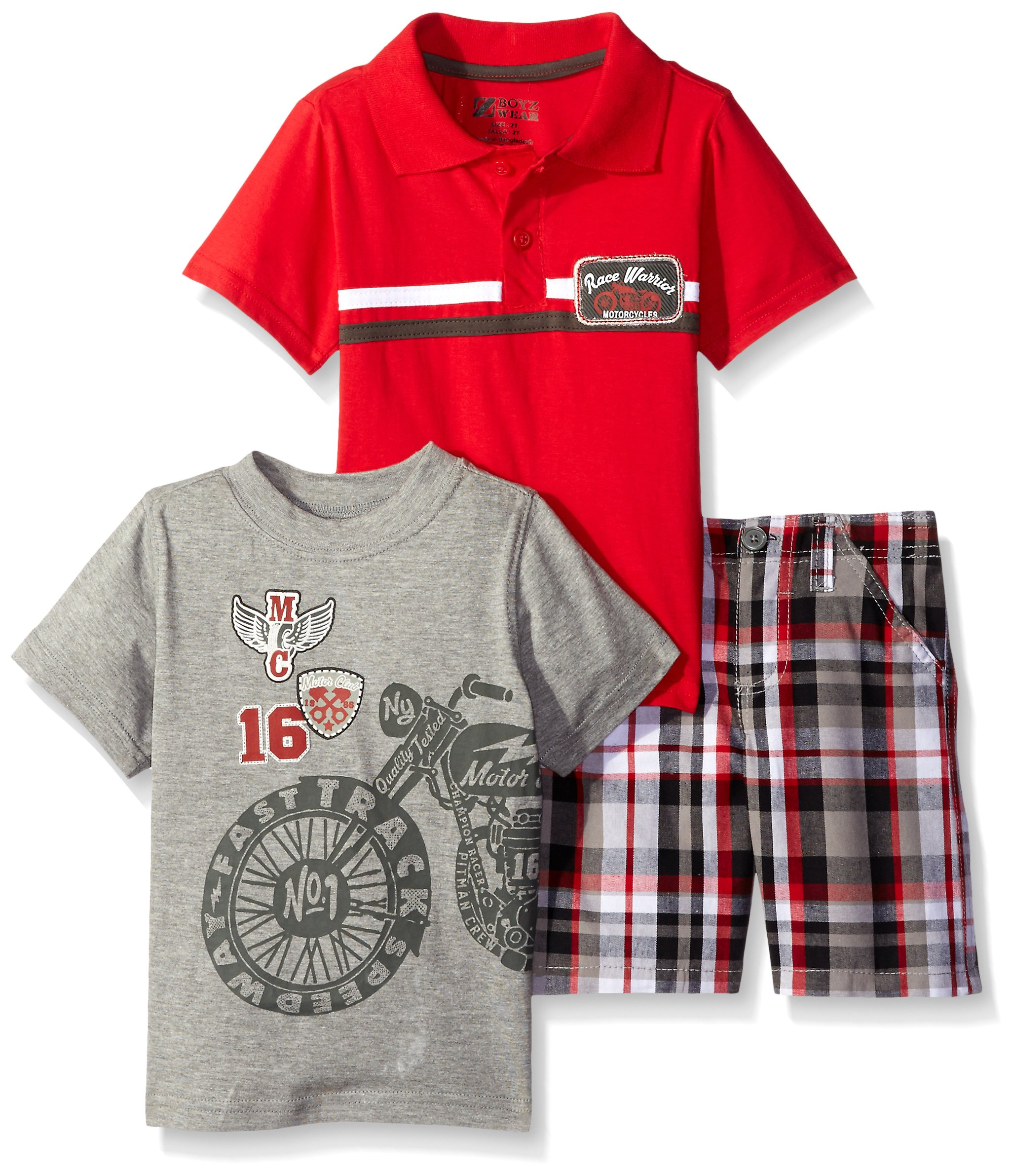 BoyzWear Little Boys' 3 Piece Motorcycle Tee and Polo Shirt with Plaid Short, Red, 5