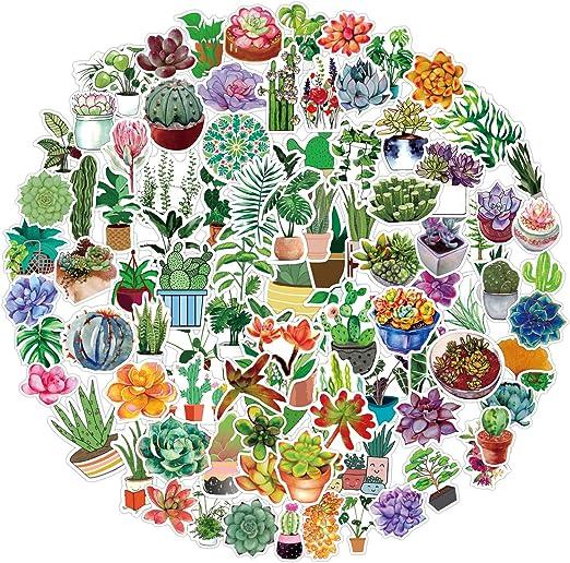 Watercolor Cactus and Succulent Plants Waterproof Vinyl Stickers