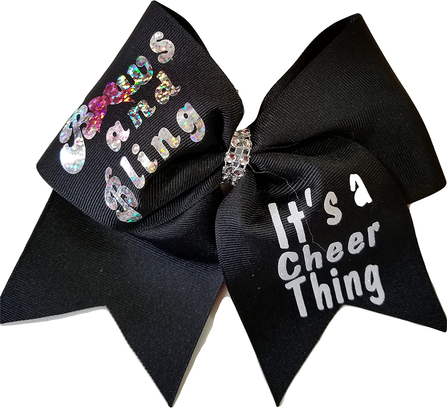 Cheer Bows Black Silver Holographic Bows and Bling, It's a Cheer Thing Hair Bow