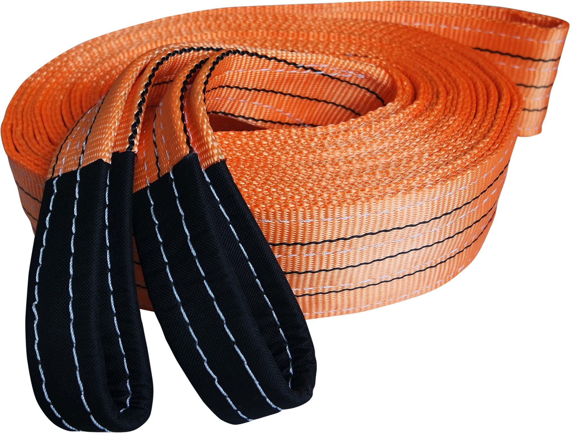 Titan Auto Heavy Duty Recovery Strap | for Off-Road Recovery and Towing (3.5'' x 30' 35K LBS, Orange & Black) by Titan Auto