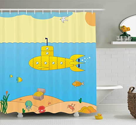 Amazon.com: Yellow Submarine Shower Curtain Set by Ambesonne ...