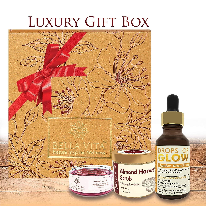 Bella Vita Organic Hamper Including Drops of Glow- Face Serum ; Strawberry Face Gel and Almond Honey Face Scrub