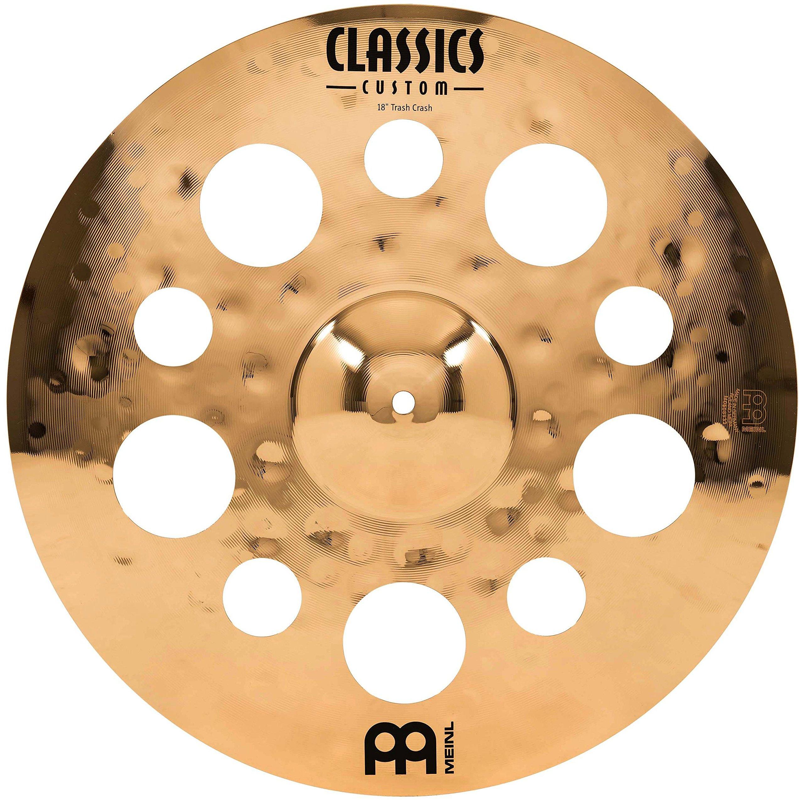 Meinl 18'' Trash Crash Cymbal with Holes  -  Classics Custom Brilliant - Made in Germany, 2-YEAR WARRANTY (CC18TRC-B)