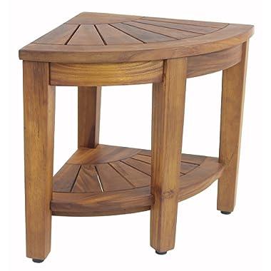 The Original Kai 15.5  Corner Teak Shower Bench with Shelf