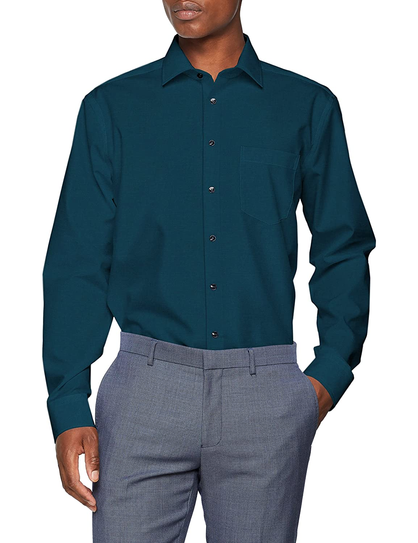 Seidensticker Modern Langarm Mit Kent-Kragen Bügelfrei Uni, Camisa de Oficina para Hombre
