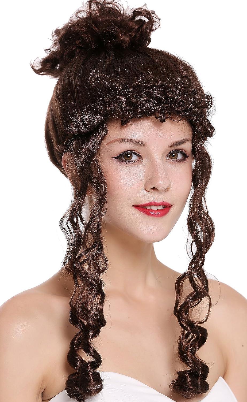 WIG ME UP ® - CXH-007-P4 Peluca Mujer Carnaval Halloween Victoriana Colonial Largo rizos bucles moño marrón Oscuro: Amazon.es: Juguetes y juegos