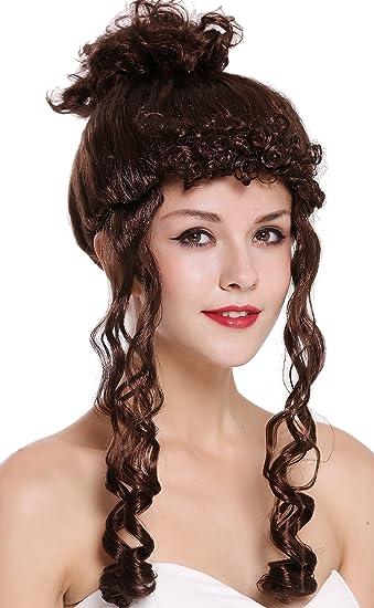 Perücke Damen Halloween Barock lang lockig hochgesteckt silber grau Strähnen