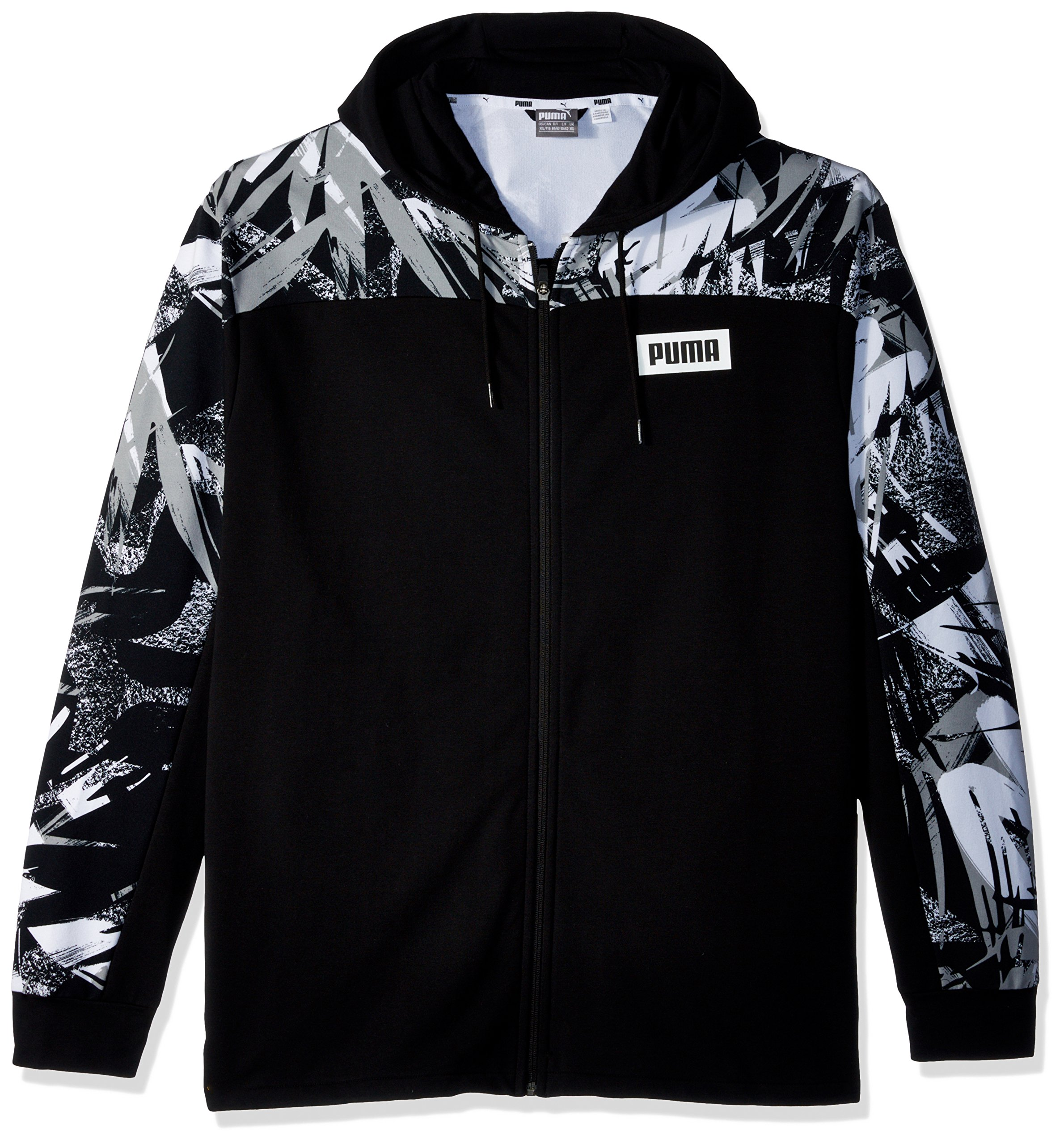 PUMA Men's Summer Pack Full Zip Hoodie, Cotton Black/All Over Print, L