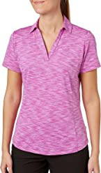 Lady Hagen Womens Essentials Space Dye Golf Polo (Pink Candy, Large)