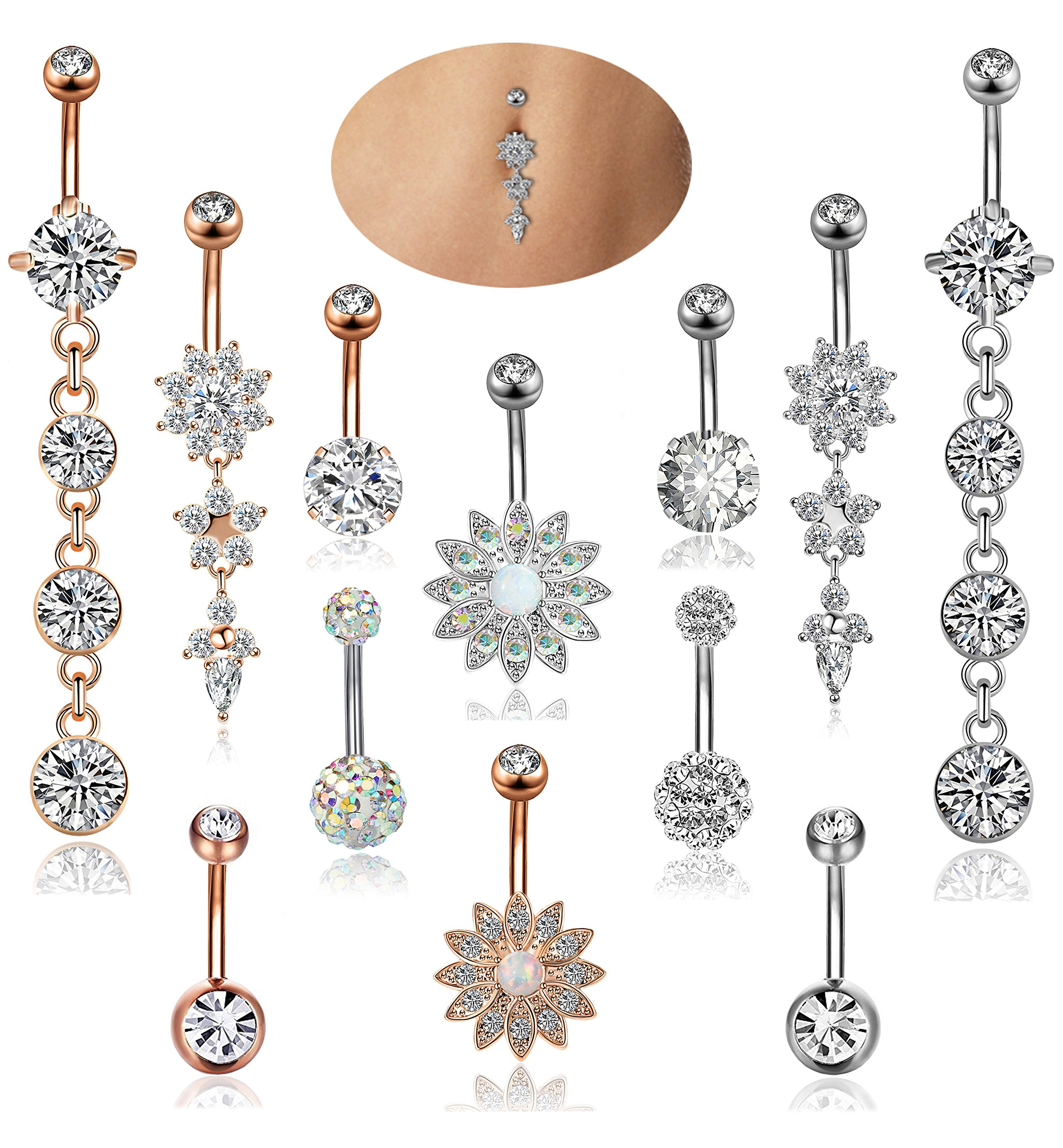 YOVORO 12PCS 14G Stainless Steel Dangle Belly Button Rings for Women Girls Navel Rings Barbell Body Piercing Jewelry by YOVORO