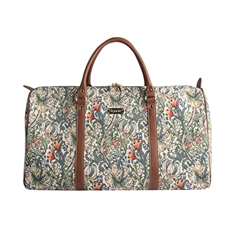 Designer William Morris Women Canvas Carry-on Overnight Weekender Duffel Travel Bag