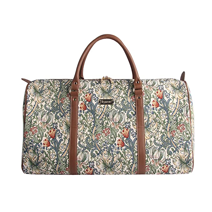Amazon.com | Black Designer William Morris Floral Big The Cray Carry-on Holdall Sport Bag Hand Luggage by Signare (BHOLD-CRAY) | Carry-Ons