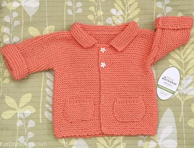 22076f5f0 Amazon.com  Orange Hand Knit Baby Sweater w Pockets in Italian ...