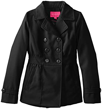 Amazon.com: London Fog Big Girls' Faux Wool Coat, Black, 7/8: Clothing