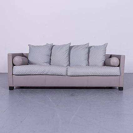 De Sede Edition 3000 Designer Stoff Leder Sofa Grau Echtleder Dreisitzer  Couch #6227