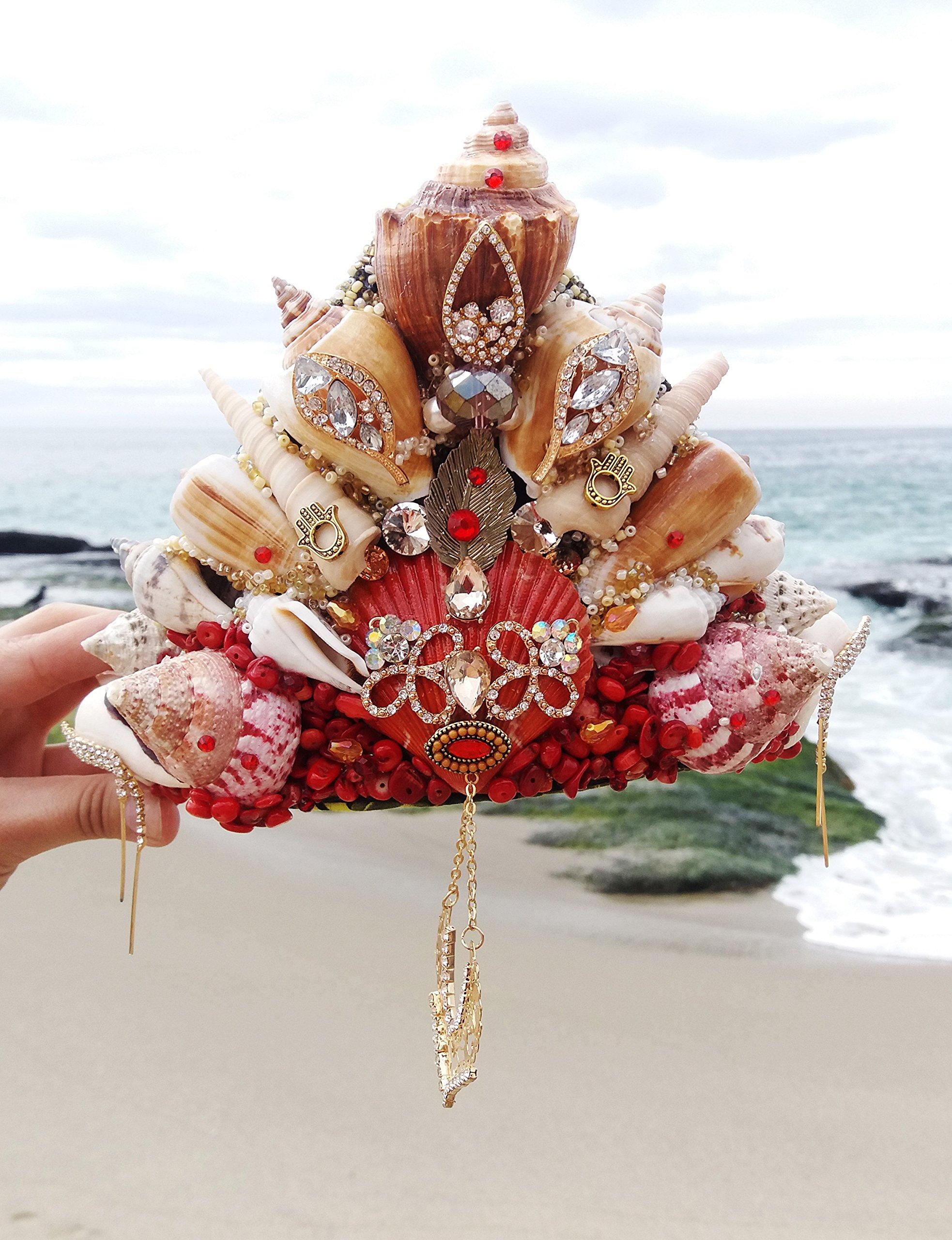 Easter Sale Red Coral Gold Mermaid Crown by Star Stuff Boutique Mermaid Headress, Gold Headdress, High Energy Mermraid Headpiece, Seashell Tiara