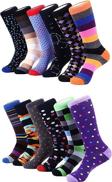6-12 Pairs Men/'s Dress Socks Lot Fashion Multi Pattern Design Argyle 9-11 10-13