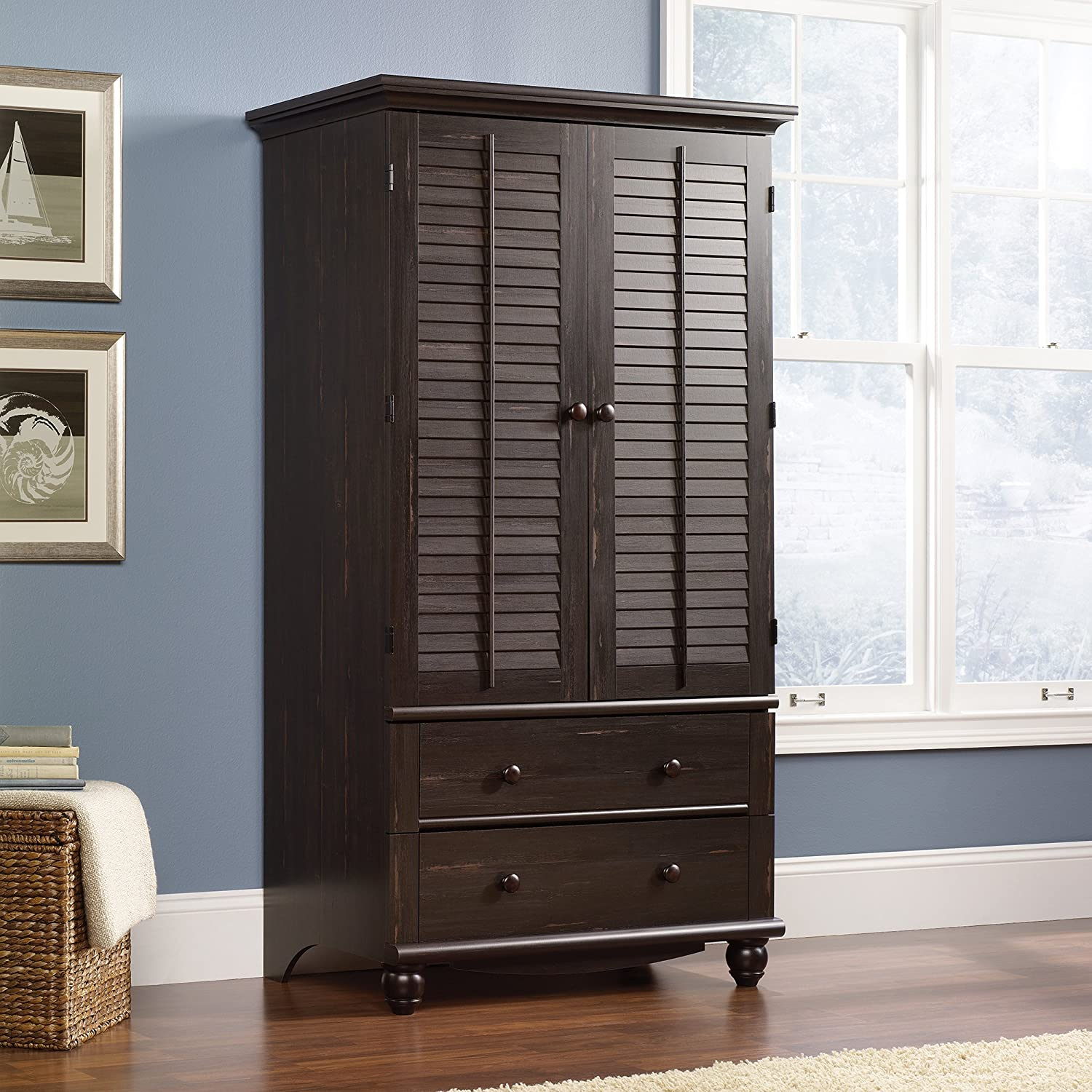 Amazon.com: Sauder Harbor View Armoire, Antiqued Paint: Kitchen & Dining - Amazon.com: Sauder Harbor View Armoire, Antiqued Paint: Kitchen