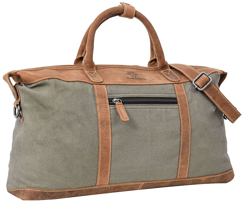 Gusti Cuir studio Riley sac de voyage bagage cabine sac weekender sac bi-matière homme femme cuir de buffle marron foncé 2M56-20-19wp Gusti Leder