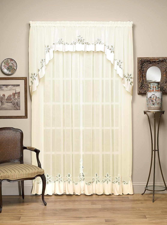 Today's Curtain Plymouth Classic Battenburg Applique Sheer Window Panel, 84-Inch, Ecru