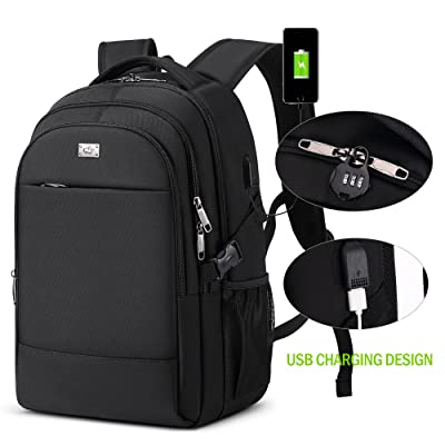 BISON DENIM Slim Laptop Backpack, Business Computer Bag Anti Theft Travel Backpacks with USB Charging Hole And Lock for College, Fits 15 inch Laptops