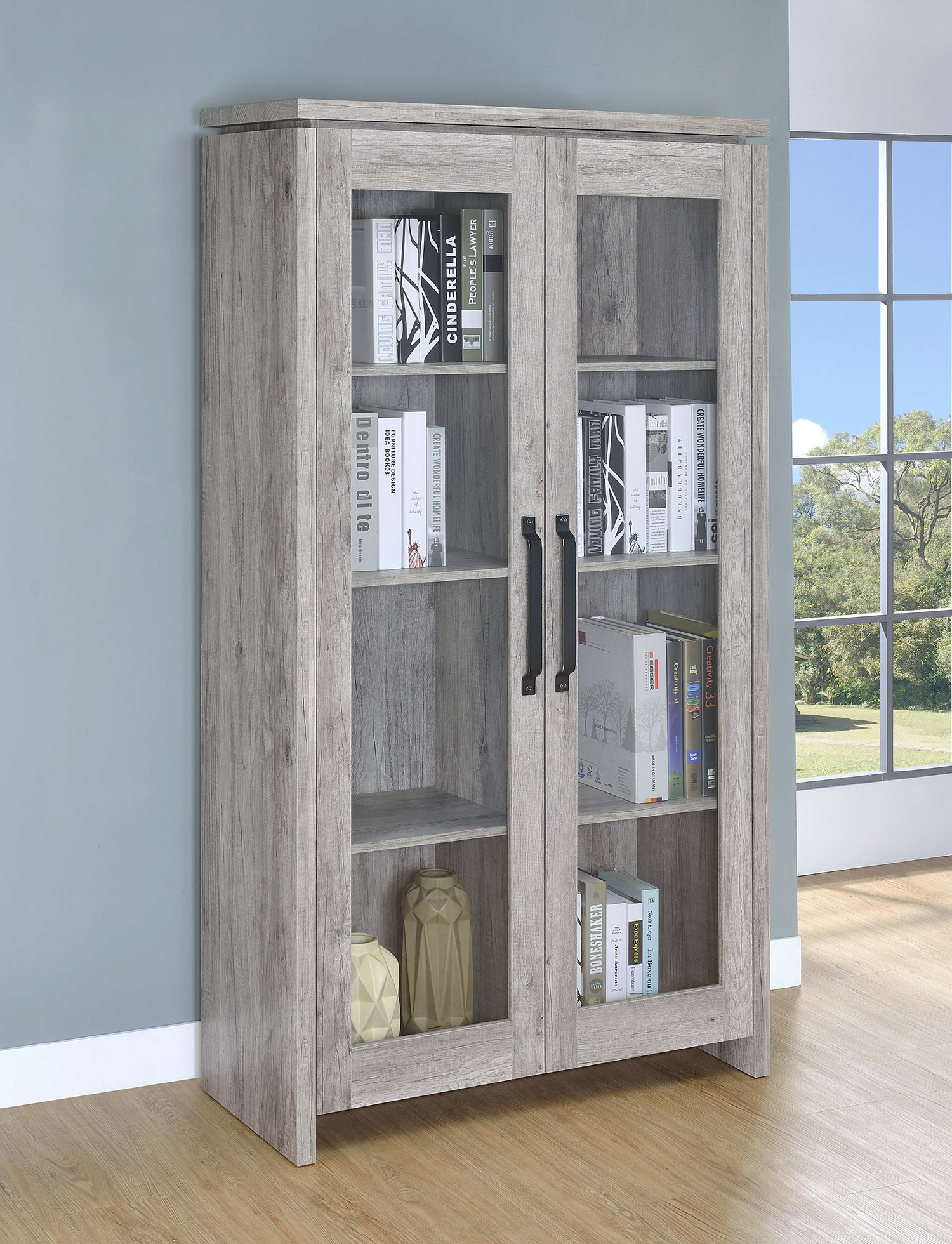 Coaster Home Furnishings 950783 Coaster Traditional Rustic Grey Curio Cabinet