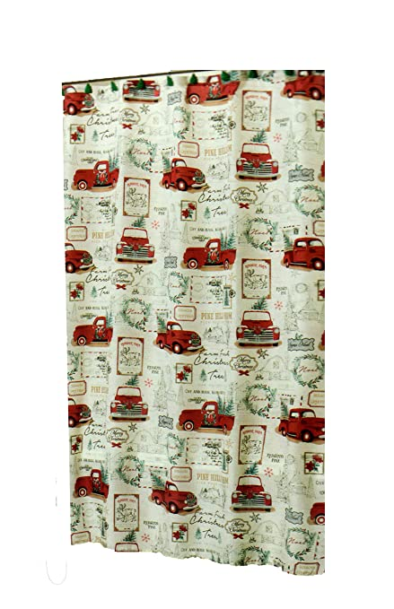 Winter Wonder Lane Christmas Shower Curtain Retro Red Pickup Truck And Holiday Greetings With 12 Matching