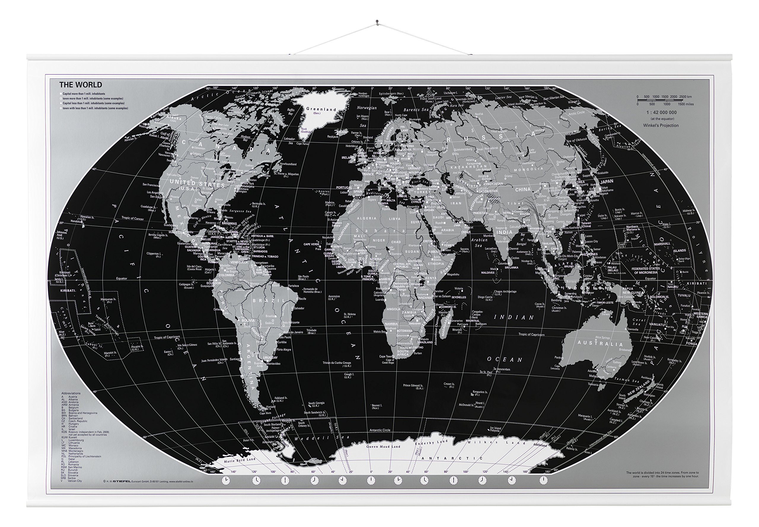 Naga 16012Rolled World Map–Black/Silver