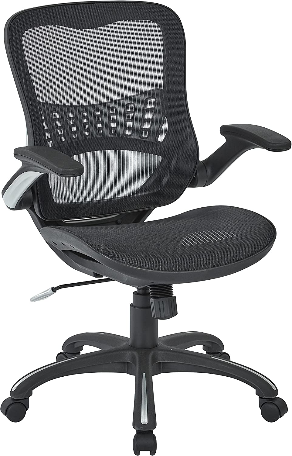 Office Star Managers Chair with Mesh Seat and Back, Black