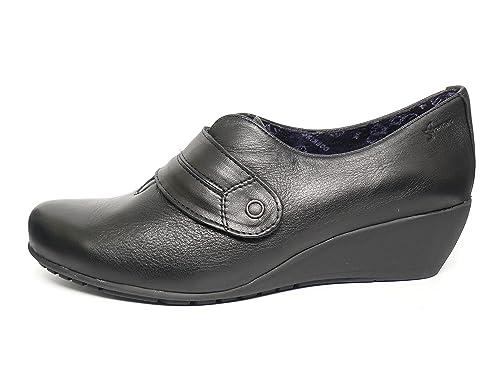 Zapatos cuña Mujer DORKING-FLUCHOS - Piel Color Negro Cierre Velcro - 6573 – 61