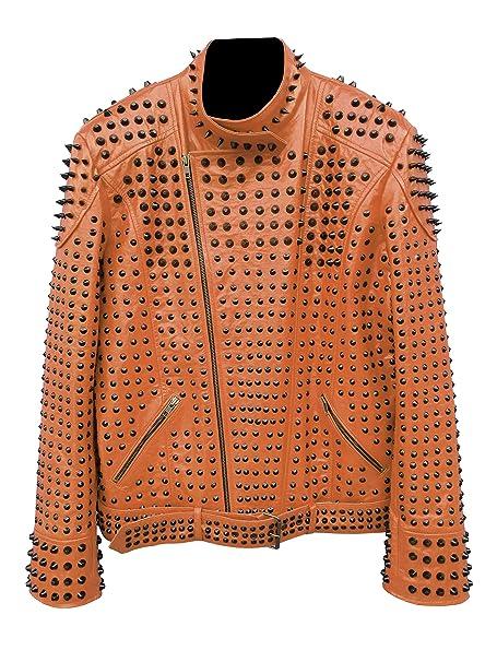 Amazon.com: GWLS - Chaqueta de cuero para hombre, diseño de ...