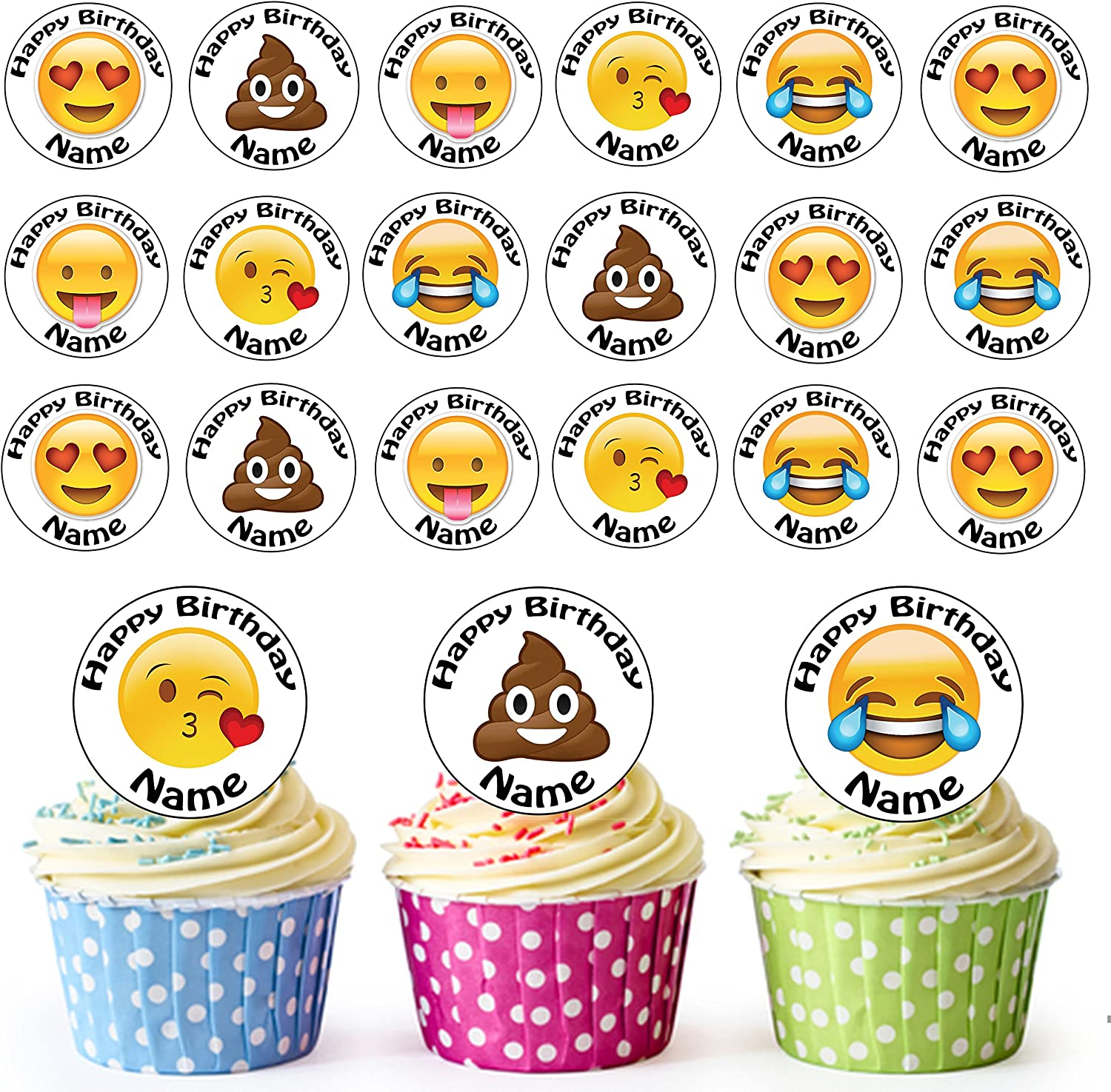 Amazing Emoji Face Mix 24 Personalised Edible Cupcake Toppers Birthday Funny Birthday Cards Online Aeocydamsfinfo
