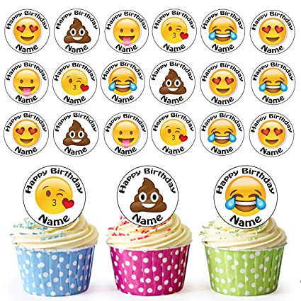 Emoji Face Mix 24 Personalised Edible Cupcake Toppers Birthday Cake Decorations