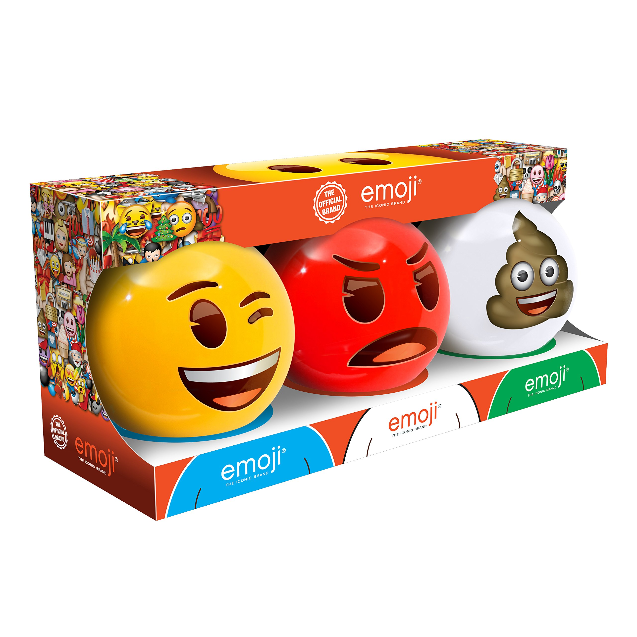 emoji Mini 3 Dodge Ball Set with Display Stands - Wink, Angry and Poop Mini Dodge Balls