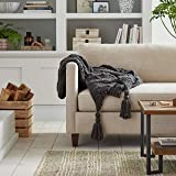 """Amazon Brand – Stone & Beam Cozy Cable Knit Chunky Weave Throw Blanket, 60"""" x 50"""", Charcoal"""
