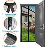 OMT High Quality Magnetic Screen Door 34''x 82'': No More bug & Mosquito Bites! Mesh Curtain with Heavy Duty Magnet & Velcro Frame, Screens for Sliding Glass Exterior & Front doors,Patio, Net for Pet