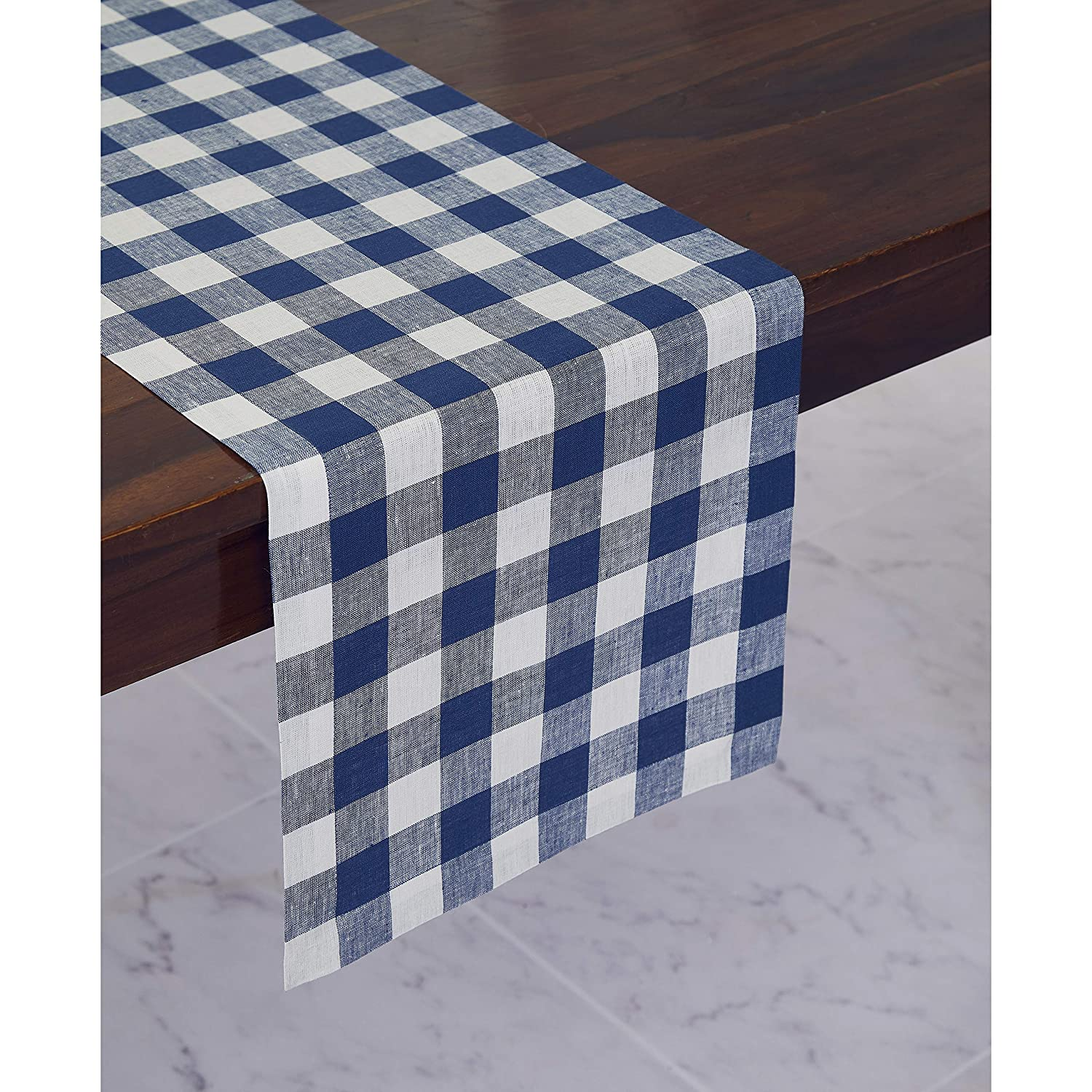 Solino Home 100 Pure Linen Checks Table Runner Blue White Check Table Runner 14 X 36 Inch Runner For Dinner Indoor And Outdoor Use