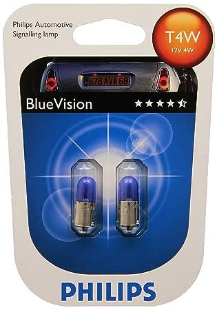 Philips 12929BVB2 Blue Vision - Bombillas para faros delanteros (T4W, 2 unidades): Amazon.es: Oficina y papelería