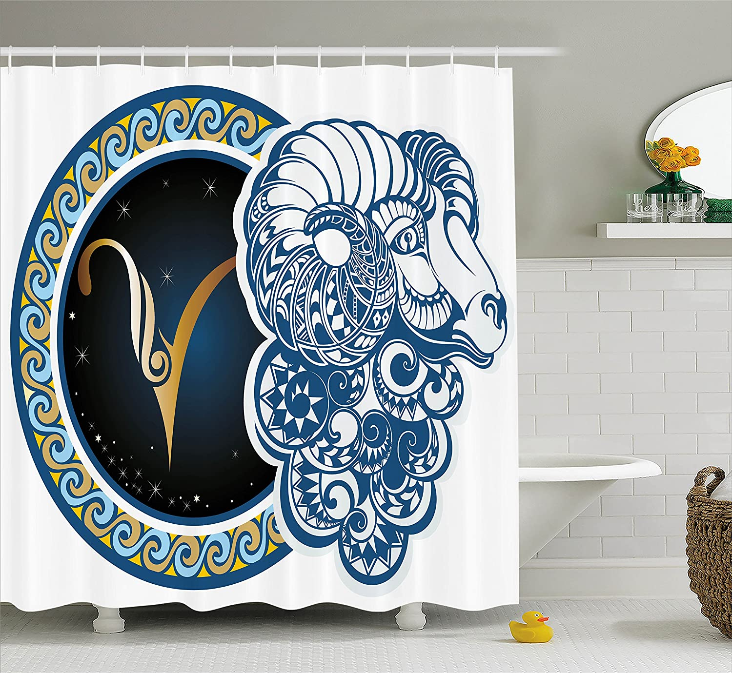 Ambesonne Zodiac Shower Curtain Astrological Aries Symbol With Horned Head Ram Goat Animal Terrestrial Event Image Fabric Bathroom Decor Set Hooks