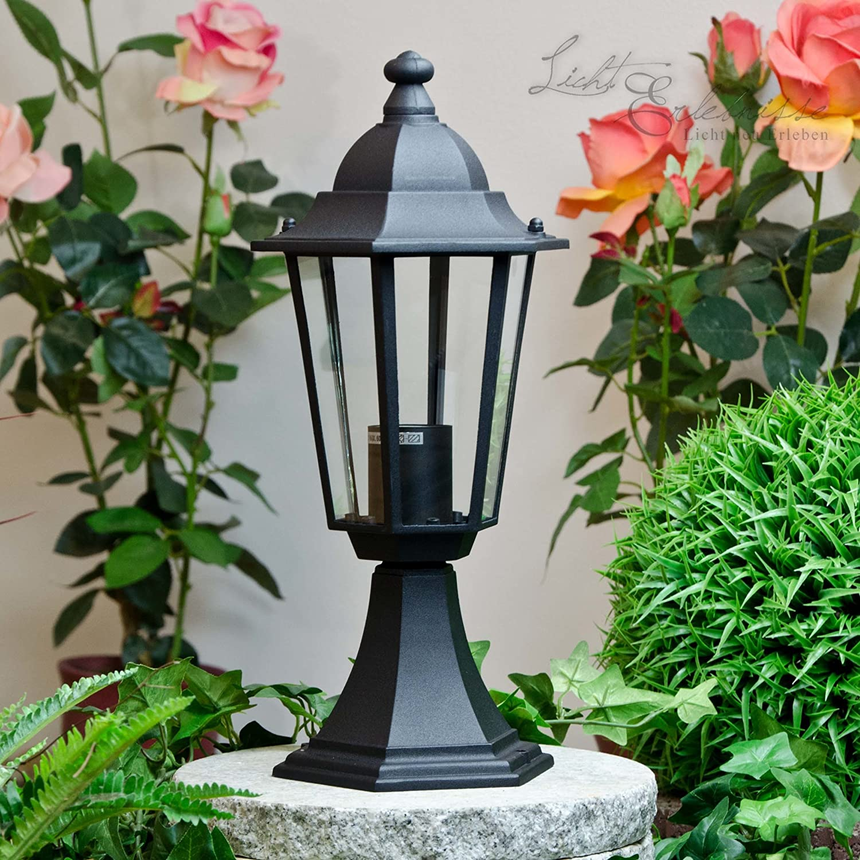 Gro/ße Sockellampe Au/ßen Schwarz E27 H:49cm IP44 BRISTOL II rustikal Wegbeleuchtung Garten Einfahrt