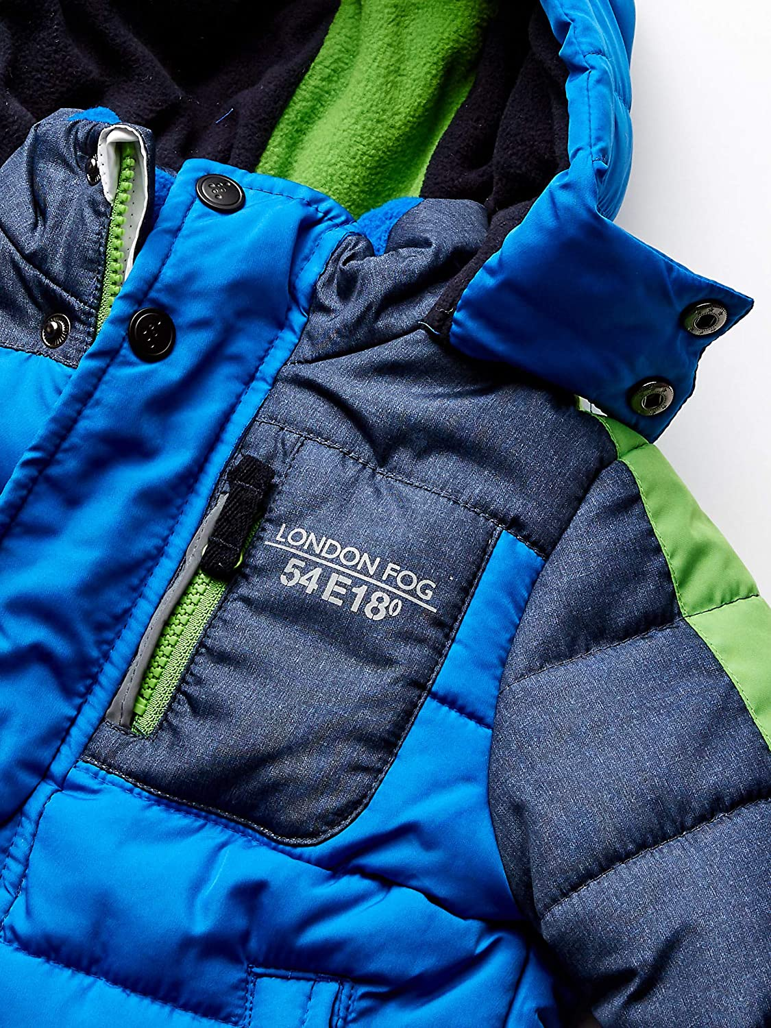 LONDON FOG boys Color Blocked Puffer Jacket Coat With Hat