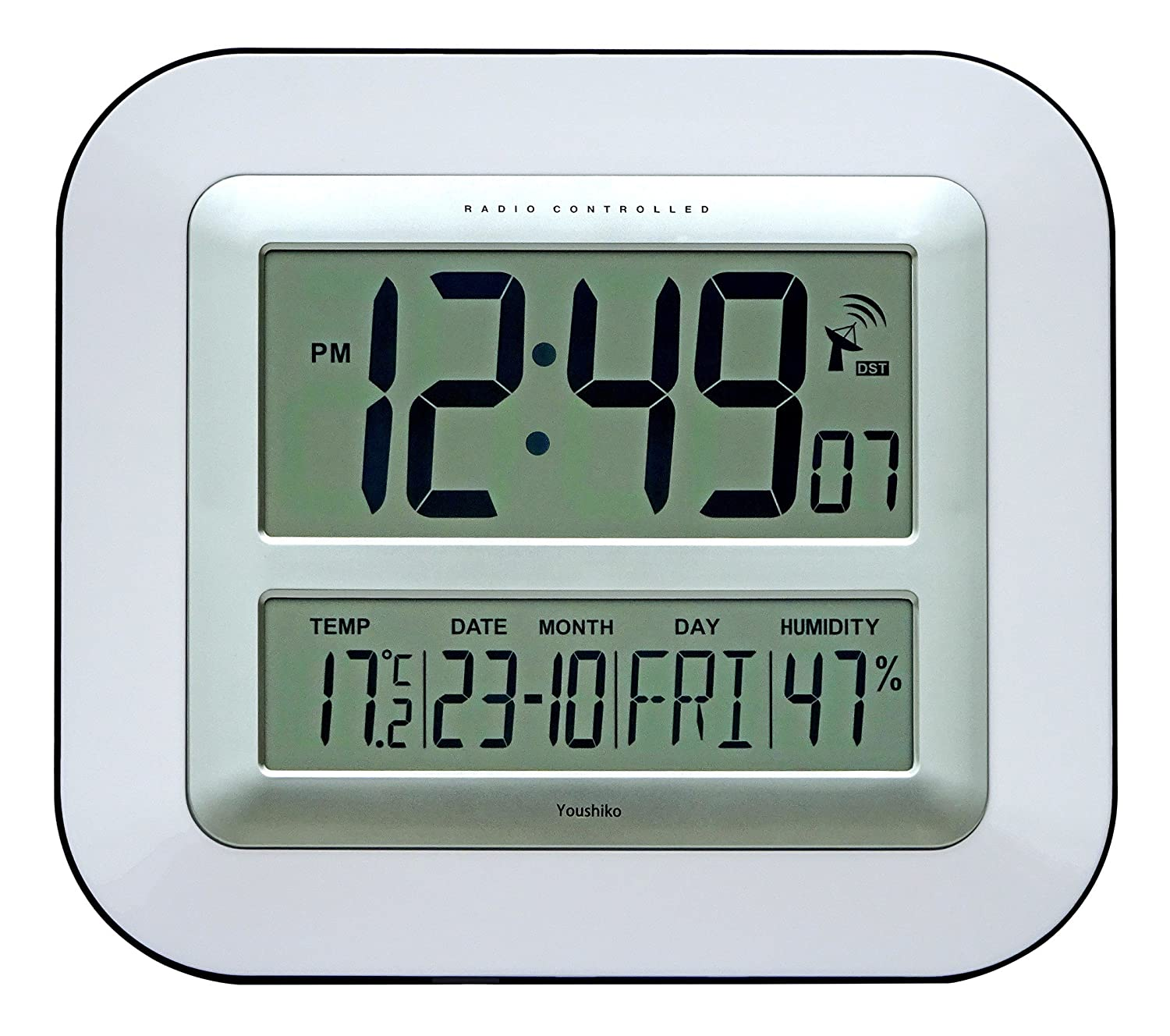 Jumbo Lcd Radio Controlled Wall Clock With Temperature Amazon