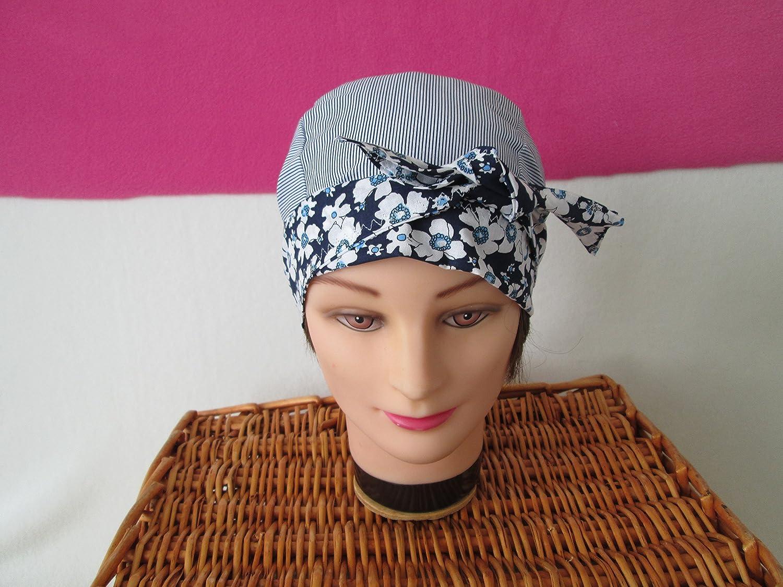 Foulard, turban chimio, bandeau pirate au féminin rayé bleu marine et blanc à fleurs