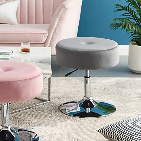 Sensational Art Leon Vanity Stool Large Modern Round Velvet Upholstered Makeup Vanity Stool Tuft Foot Rest Ottoman Stool With Adjustable Swivel Metal Base For Machost Co Dining Chair Design Ideas Machostcouk