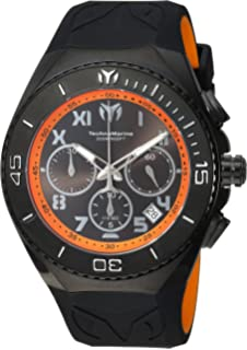 Technomarine Mens Manta Quartz Stainless Steel and Silicone Casual Watch, Color:Black