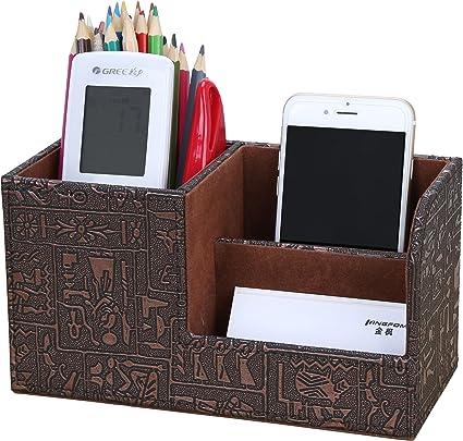 Voarge Portapenne da scrivania ufficio in plastica portamatite scatola portaoggetti forniture per ufficio 3 Bicchieri Portapenne Portaspazzolini Portamatite(blu)