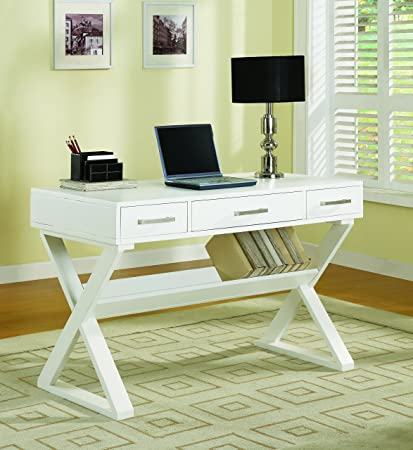 Bon Coaster Casual 3 Drawer White Writing Desk