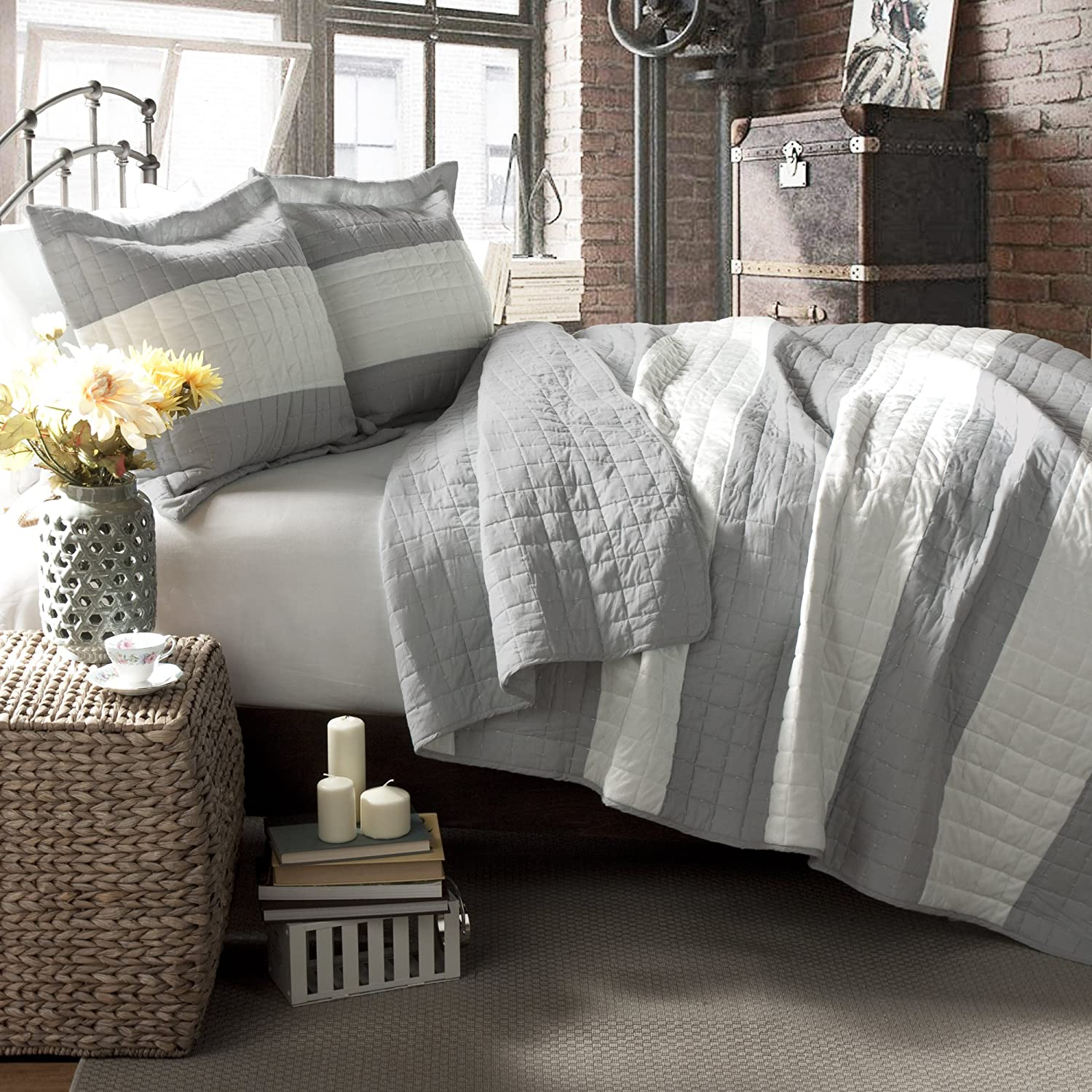 Lush Decor Berlin Stripe 3-Piece Quilt Set, Full/Queen, Gray