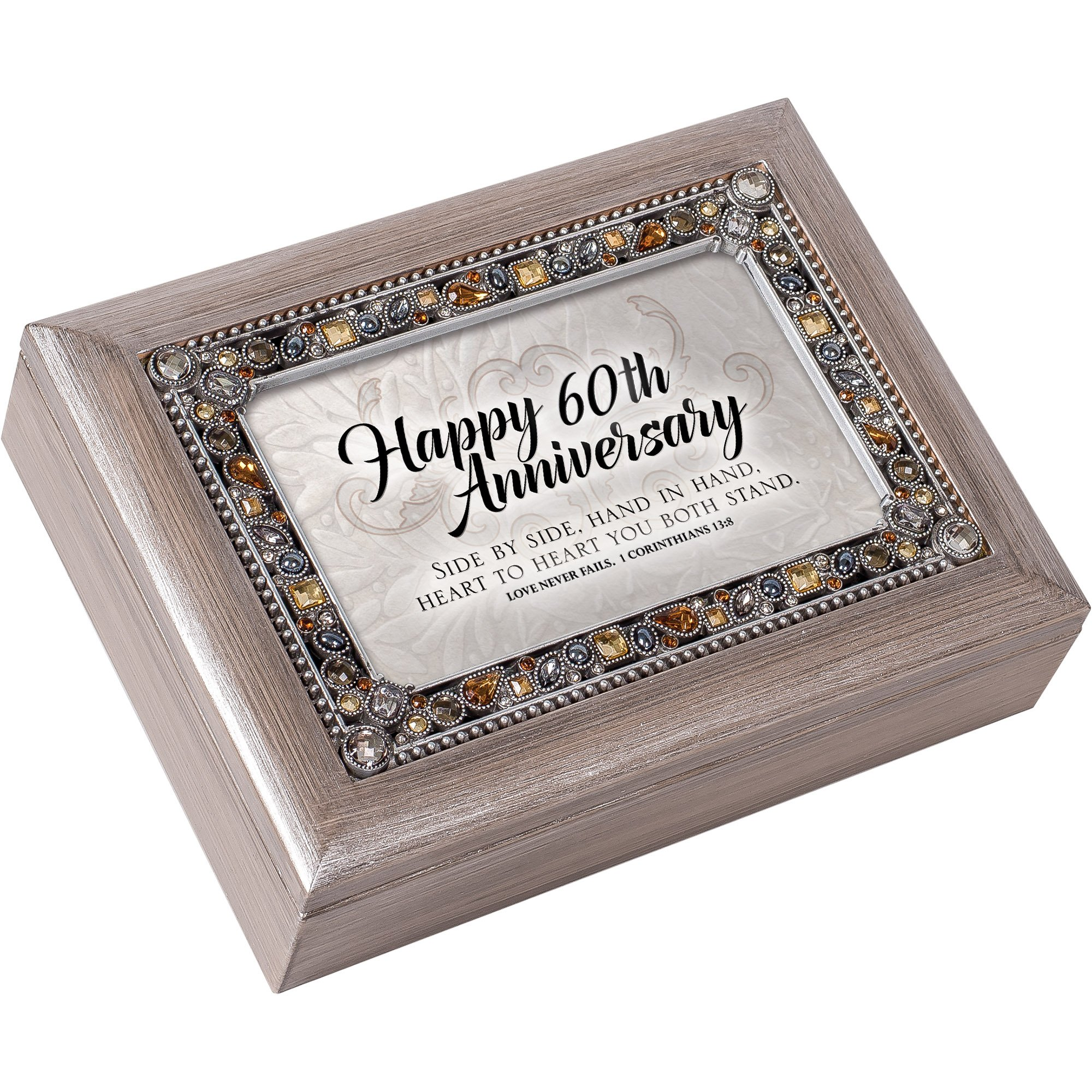 Cottage Garden Happy 60th Anniversary Brushed Pewter Jewelry Music Box Plays Amazing Grace