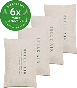Belle Air 100% Activated Charcoal Air Purifying Bags | 6 to 8 Times More Effective Than Bamboo Charcoal | Safely Removes Odors, Toxins, and Excess Moisture for Homes, Cars, Fridges, etc.